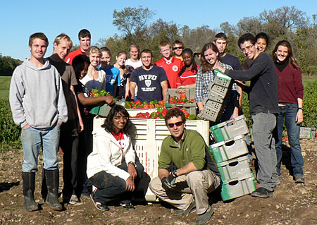 Instructor Frank Rossi (front right) and HORT 1101 students and peppers at Homer C. Thompson Research Farm in Freeville, N.Y.  Photo by Betsy Leonard.