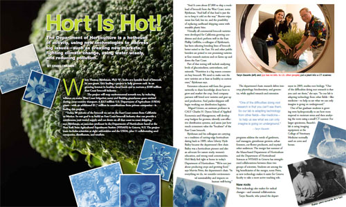 The Department of Horticulture is featured in the Spring 2011 issue of CALS News