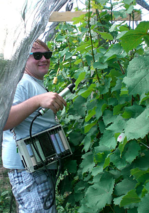David Bower measuring grapevine photosynthesis with a CIRAS-1 portable photosynthesis system.