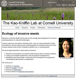 Visit the Kao-Kniffin Lab website at: www.hort.cornell.edu/kao-kniffin/lab