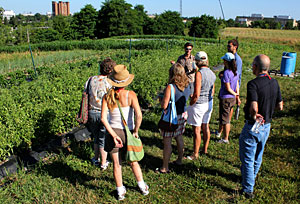 Student managers at Dilumn Hill explain the farm's crop rotation to visiting Master Gardeners.
