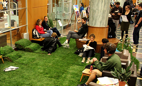 A little lawn in the Mann Library lobby.
