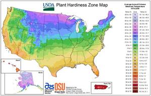 New USDA Hardiness Zone Map