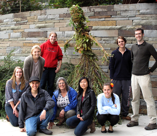 Art of Horticulture students with their woven branch greeter