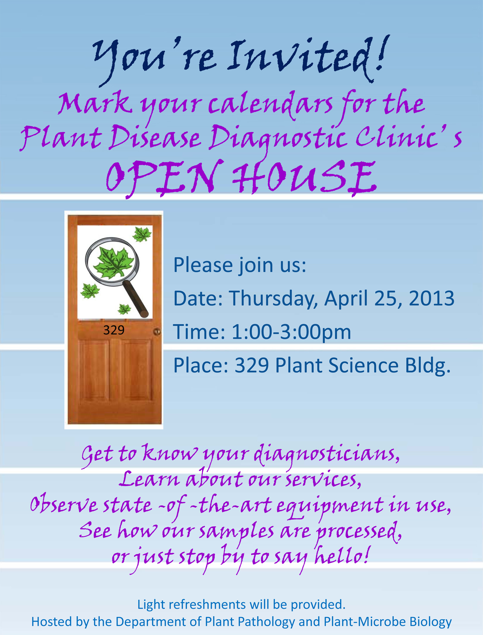 Sample invitation open house choice image invitation sample and plant disease diagnostic clinic open house april 25 stopboris choice image stopboris Image collections