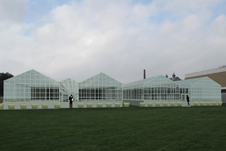 Renderings of the greenhouses to be reconstructed at the New York State Agricultural Experiment Station in Geneva, N.Y. Image: O'Brien & Gere.