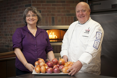Martha Mutschler and Cornell Dining executive chef Steve Miller, who has tested about a dozen of Mutschler's hybrids. (Jason Koski/University Photography.)
