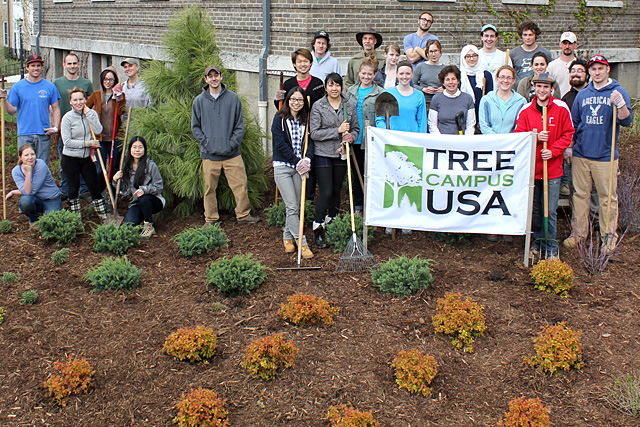 Urban Eden students and others after finishing Caldwell Hall landascape