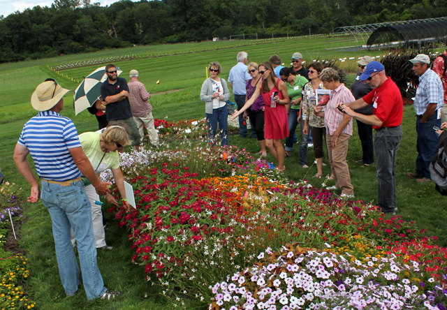 Nora Catlin, floriculture specialist at Cornell Cooperative Extension of Suffolk County, tells participants about her experiences with varieties in the annual flower trials at Bluegrass Lane.