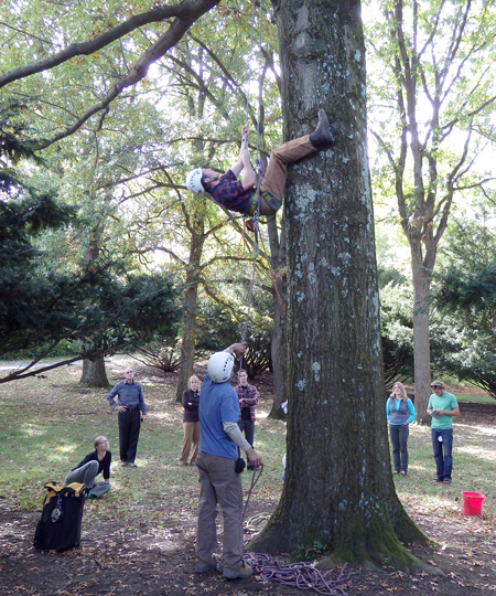 Lee Dean teaches tree climbing at Cornell Plantations