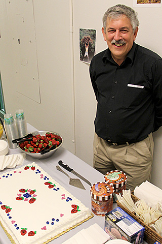 Marvin with berry-themed cake
