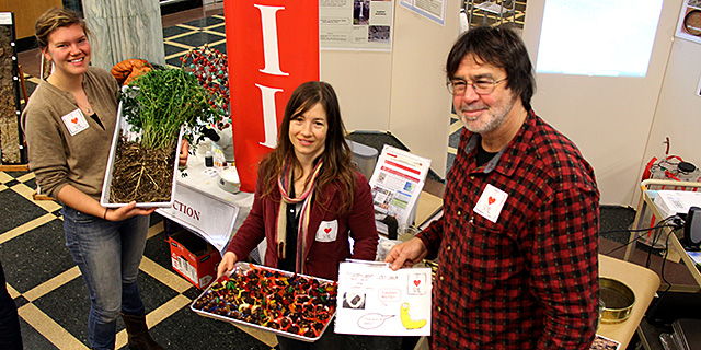 Graduate students Silene DeCiucies and Rachel Hestrin and Soil Health Lab Coordinator Bob Schindelbeck will help you celebrate World Soil Day in the Mann Library lobby.