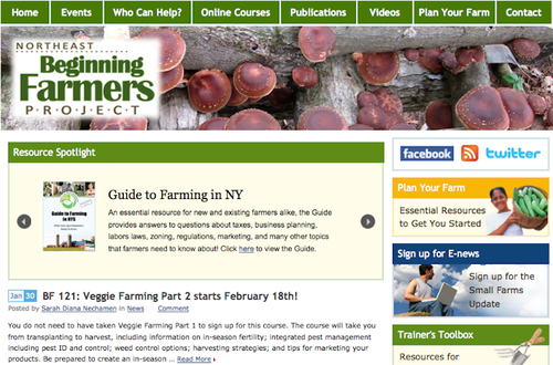 Beginning Farmer Project homepage