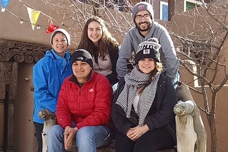 Cornell students Adrienne Wilson, Steven Ingram, Emma Korolik, Andrew Key and Brenda Martinez headed to Vista Grande High School in Taos, N.M., during winter break as part of a service-learning course developed by Education Lecturer Bryan Duff.