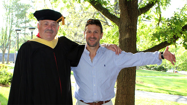 Bill Borgstede MPS '15 and his advisor and associate professor in the Horticulture Section Frank Rossi.