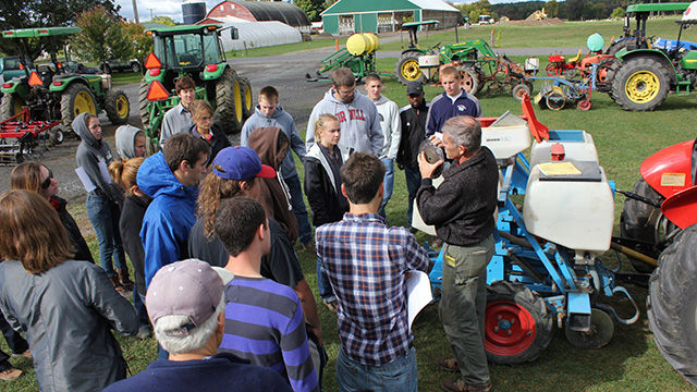 Students in Principles of Vegetable Production class (HORT 3500) learn the ins and outs of more than a dozen tillage, planting and cultivation implements at the Homer C. Thompson Vegetable Research Farm in Freeville, N.Y.