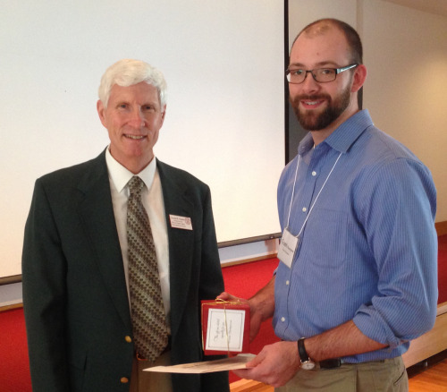 Donald Viands, associate dean and director of academic programs for CALS, presents award to Grant Thompson.