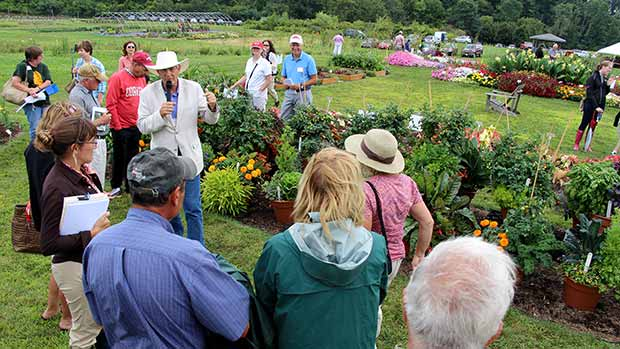 "Attendees view demonstration of mixed vegetable/ornamental container plantings. ""For many, the garden of the future will be on their deck,"" Armitage told the group."