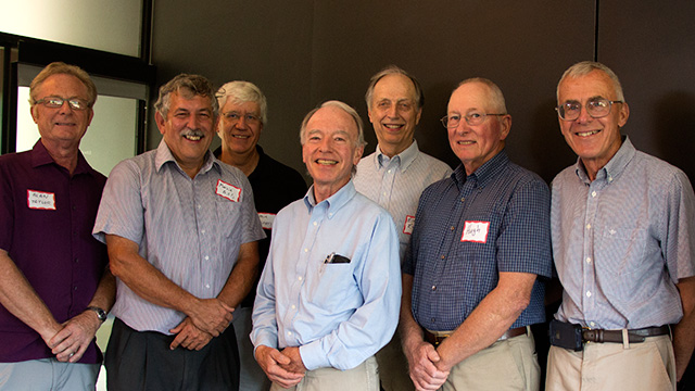 Six former and current chairs helped celebrate Wien's career (left to right): Alan Taylor (Horticultural Science – Geneva), Marvin Pritts (Horticulture), Steve Reiners (current chair, Horticulture Section), Tom Weiler (Floriculture and Ornamental Horticulture), Elmer Ewing (Vegetable Crops, Fruit and Vegetable Science), Hugh Price (Horticultural Science – Geneva), Chris Wien (Fruit and Vegetable Science, Horticulture).