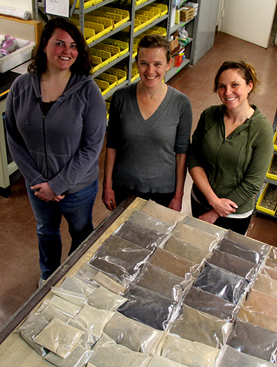 Aubrey Fine, Kirsten Kurtz and Kelly Hanley prepared the soils to make the paints.