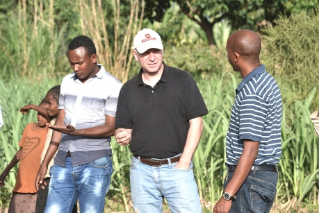 Johannes Lehmann, center, discusses soil research with farmers in Awassa, Ethiopia.(Andrew Martin Simons photo)