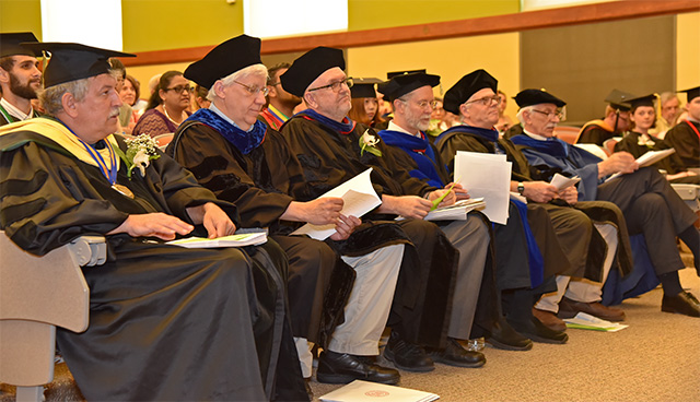 Director of Undergraduate Studies Marvin Pritts (left) and SIPS section chairs Steve Reiners, Gary Bergstrom, Jeff Doyle, Tim Setter and William Crepet at the ceremony.