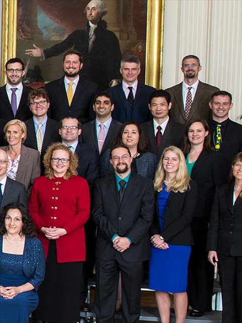 Kenong Xu (second row from the top, second from right) with other recipients of the prestigious Presidential Early Career Award for Scientists and Engineers. Click image for larger view.