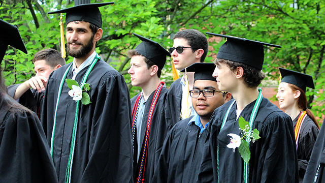 Christian Lesage and Patrick McLoughlin during procession to commencement ceremony.