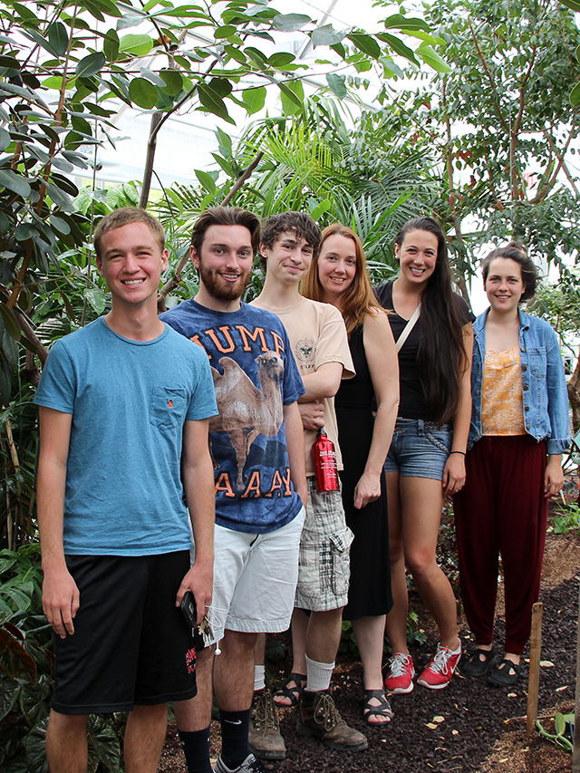 Left to right: Jason Gregory, Ryan Walker, Patrick McLoughlin, Plant Sciences Undergraduate Program Coordinator Leah Cook, Breanna Wong and Katharine Constas.