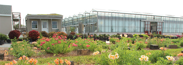 Demonstration garden and greenhouses at the Long Island Horticulture Research and Extension Center.