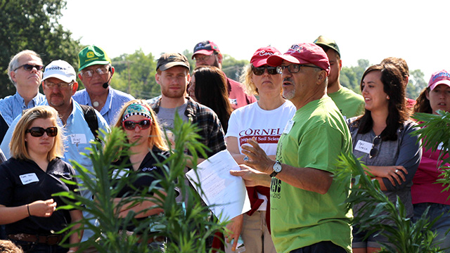 DiTommaso talks about herbicide-resistant weeds at the 2015 Musgrave Research Farm Field Day.
