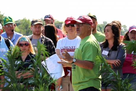 Toni DiTommaso, discusses pesticide-resistant weeds on a field day at Musgrave Research Farm in Aurora, New York in July 2015.