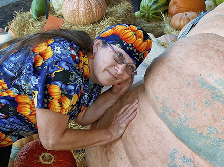 'Pumpkin whisperer' checks in with her 1,872-pound patient.