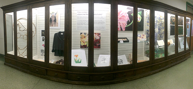New botanical arts display in case west of the foyer on the first floor of the Plant Science Building.