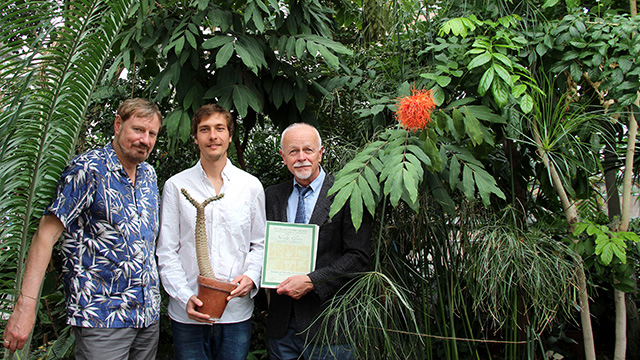 Research support specialist Ed Cobb (left) and Professor Karl Niklas present Glynos with his Young Botanist award in the Liberty Hyde Bailey Conservatory.