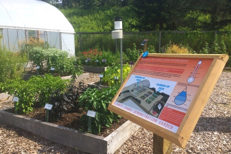The entrance of the Climate Change Demonstration Garden, located at Pounder Garden at the Cornell Botanic Garden.