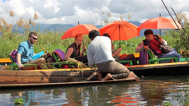 'Enchanted Myanmar' is a trip open to alumni and friends of Cornell that will celebrate 50 years of field-based learning of Cornell's first and longest-running experiential learning course. Above, students explore the floating gardens at Inle Lake by boat during a trip to Myanmar in January.