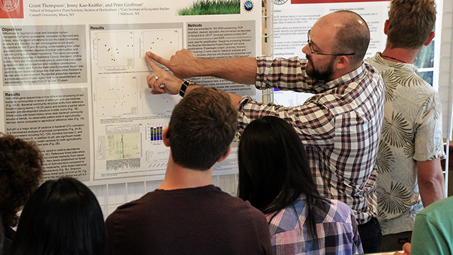 Ph.D. candidate Grant Thompson explains his research on soil bacterial communities in residential lawns during a poster session at the Fall 2017 Horticulture Graduate Field Review.