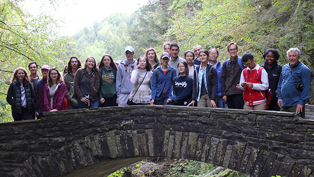 New Plant Sciences majors at Treman State Park.