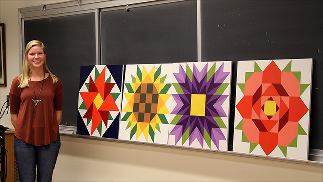 Barn quilt flower designs.