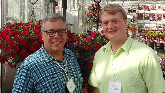 Mark Bridgen and Neil Mattson on tour of 2014 California Spring Trials.