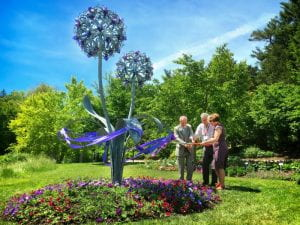 double allium ribbon cutting
