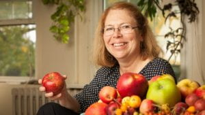 Susan Brown with apples