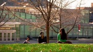 Cornell students get outside for some fresh air.