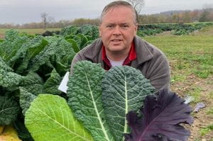 Phillip Griffiths with several of his new kale varieties showing different colors and textures from green to red and smooth to crinkled.