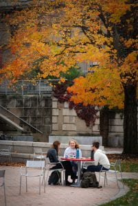 students outside mann library with fall foliage in the background