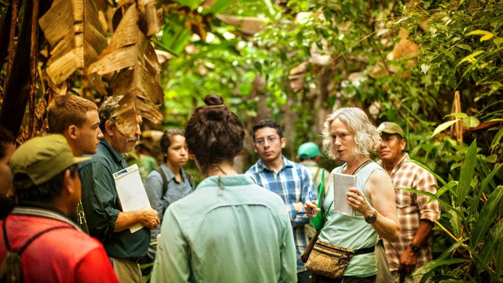 Marcia Eames-Sheavly in Belize leading students in the course Tropical Plants Extravaganza.