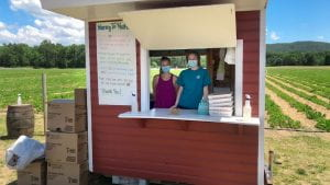 Shed at you pick farm with two employees, flats and hand sanitizer