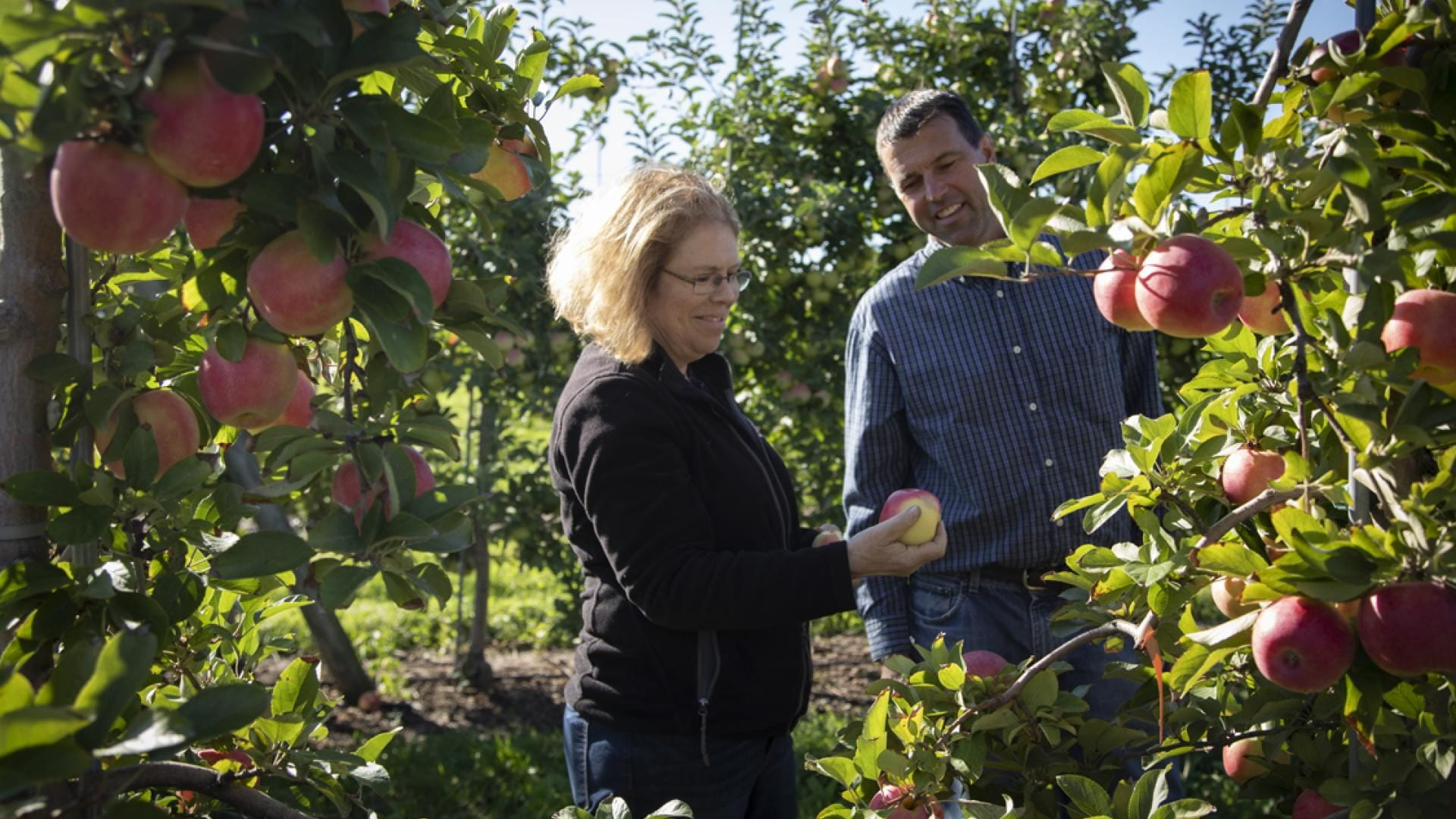 susan broown with technician in orchard