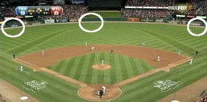 The Rangers outfield is positioned suspiciously far back.